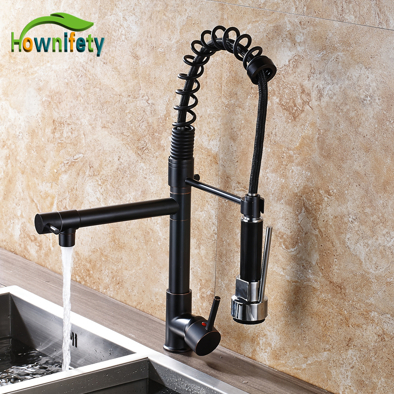 Oil Rubbed Bronze Spring Kitchen Sink Faucet Swivel Spout Pull Out Mixer Tap Deck Mount oil rubbed bronze spring kitchen faucet swivel spout pull out kitchen sink mixer tap deck mounted