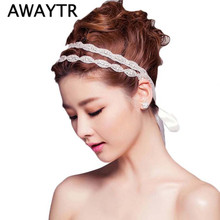 1Pcs Set Wedding Headwear Crystal Rhinestone Double Rows Headbands New Bride Ribbon Hair Jewelry Bridal