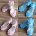 beautiful PVC soft pink golden blue big kids girls shoes princess