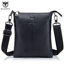 цены BULLCAPTAIN Casual Men Bag Genuine leather Small Shoulder Bags High Quality Cowhide Men Messenger Bag Brand Crossbody Bags Black