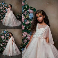 2019 Blush Pink Flower Girl Dresses For Weddings Jewel Neck Lace Appliqued Little Kids Baby Gowns Beaded Feather Communion Dress