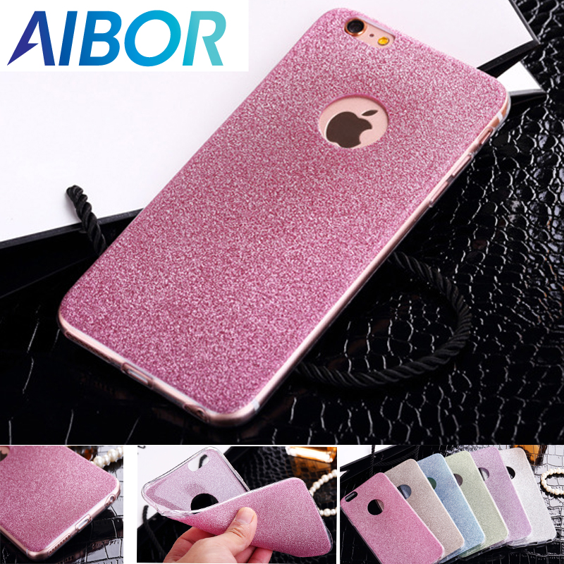 AIBOR Crystal Candy Case For iPhone 6 6s PlusiPhone SE 5 5s 7 7 8 Plus X Luxury Glitter Bling Back Soft TPU Glitter Back Cover