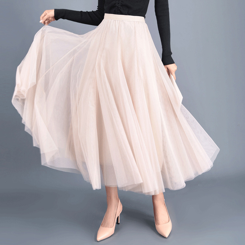 OHRYIYIE Beige Gray Pink Maxi Long Skirt Womens 2019 Tulle Skirts Spring Summer Party Mesh A-line Skirts Female Jupe Longue