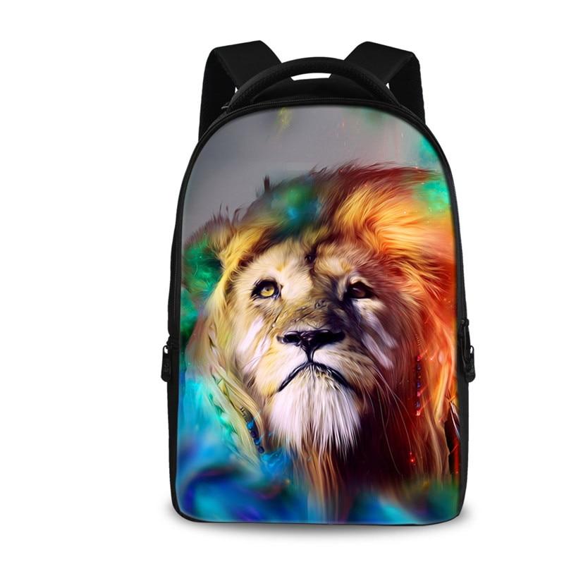 FORUDESIGNS 3D Animal Lion Kids Backpack Men Printing Backpacks for Teenage Boys Children School Back Pack