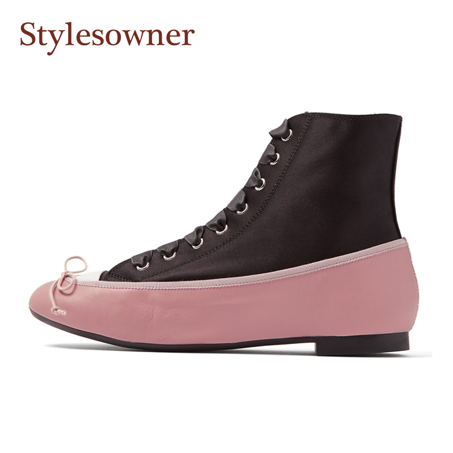Stylesowner 2018 New Arrival Flat Bootie Real Leather Silk Ankle Short Chelsea Boots Black and Pink Lace Up Front Bowtie Shoe 2017 embellished sweety girl love pink peach women martin boots short shoe ankle lace up crystal sequins flat round toe shoe