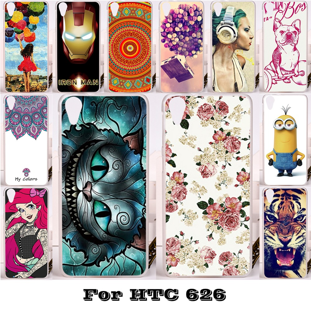 Silicon Plastic Phone Cases For HTC Desire 626 650 628 Housing Cover A32 626w 626D 626G 626S Bag Shell Skin Back Cat Tiger Case