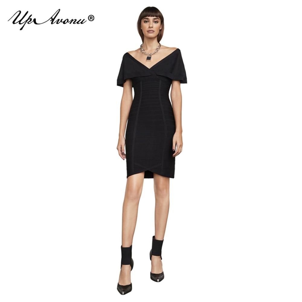 2018 Robe Gros D'été Pour Partie Robes Manches Sans Courte Mini Upavonu Bandage Sexy Club Noir Élastique La Papillon Up065 Moulante d4xw66Tq7v