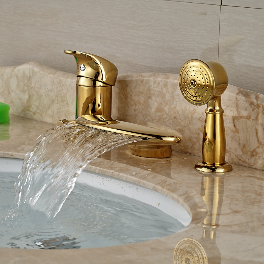 Wholesale And Retail Luxury Golden Deck Mounted Waterfall Bathtub Faucet  Single Handle Diverter Mixer Tap W/ Hand Shower In Shower Faucets From Home  ...