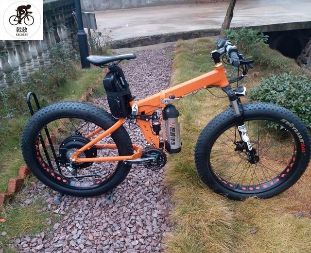 45de9dc2431 Kalosse Free shipping electric Fat bike Folding frame electric beach  bicycle M4000 48V 1000W 27 speed
