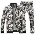 Men's Casual Sportwear Plus Size XXXL 4XL 5XL Fashion Floral Set Male Clothing 2016 Slim Fit Joggers Tracksuits Sweatshirt+Pants
