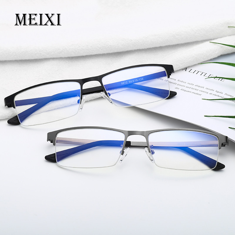 Mirror Flat Lense Unisex glasses Business Casual Designer Frame Anti-blue light radiation protections for Optician glasses