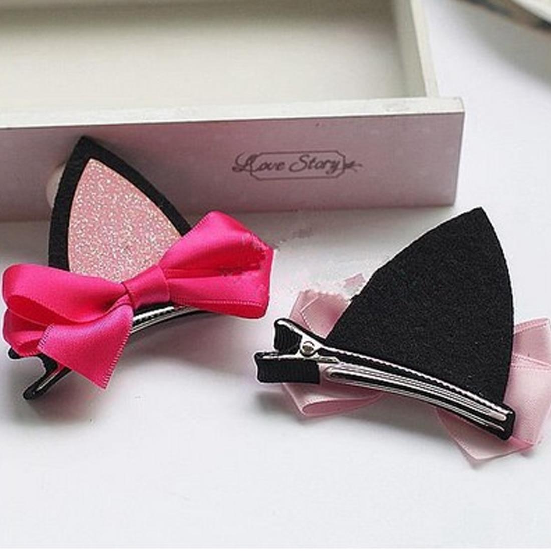 2PCS=1 Pair Children Girls Hair Accessories Clip Kids Hairpins Barrettes Bow Headwear Flower Cat Ears Hairpin Hair Accessories