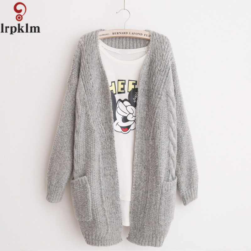 Cardigan font b Women b font Coat Korean Style V Neck Long Sleeve Loose Knitting Cardigans