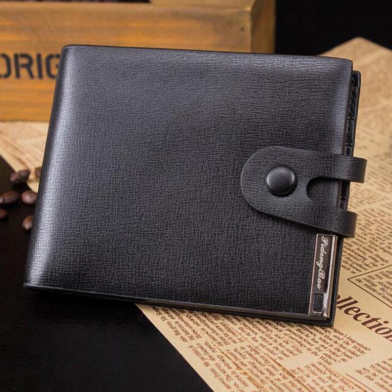 New Fashion Solid Color Men's Short Hasp Wallets Money Clips