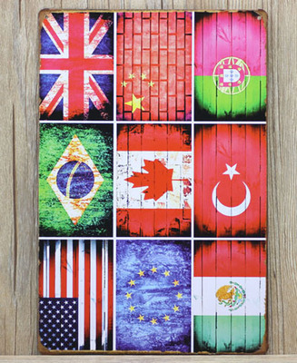 Vintage Metal Wall Plate European Flags Metal Poster Bar Signs Placas Decorativas Metal Vintage Home Decor 20cm*30cm