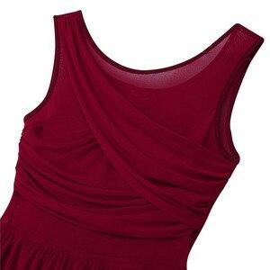 Image 4 - Women Adult Ballet Dress Ballet Leotards for Women Sleeveless Cut Out Asymmetric Chiffon Ballet Dance Gymnastics Leotard Dress