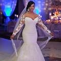 2017 Plus Size Long Sleeves Lace Wedding Dresses Long Mermaid Plus Size Bridal Formal Gowns Wedding Gown Vestidos De Noiva Longo