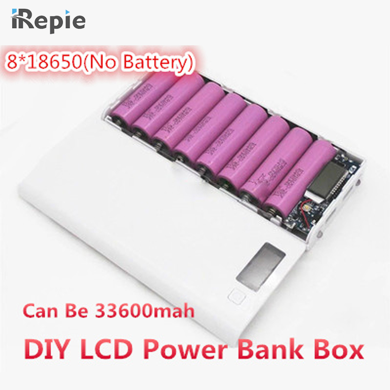 Universal 2A 8*18650 5x18650 LCD Dual USB Battery Charger Kit DIY 18650 box Power Bank Pack Case Charger with Flashlight phone