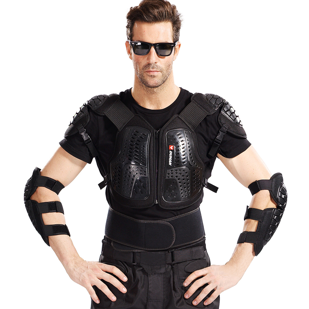 DUHAN Motocross Off-Road Racing Body Armor Motorcycle Anti-Fall Riding Protector Jacket Vest Chest Protective Gear Elbow Pads