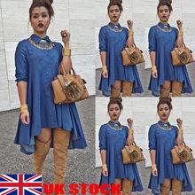 Hot 2019 Women Denim Long Sleeve Mini Shirt Dress Summer Button Blue Solid Fashion Ladies Casual Jeans Loose Tunic Dresses
