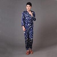 Navy Blue Chinese Men Silk Satin Sleepwear Male Long Sleeve Pajamas Set Autumn Spring Lounge Pyjamas