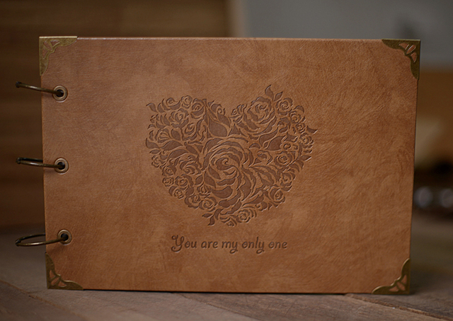 Wedding Guestbook Leather Scrapbook You Are My Only One Embossed