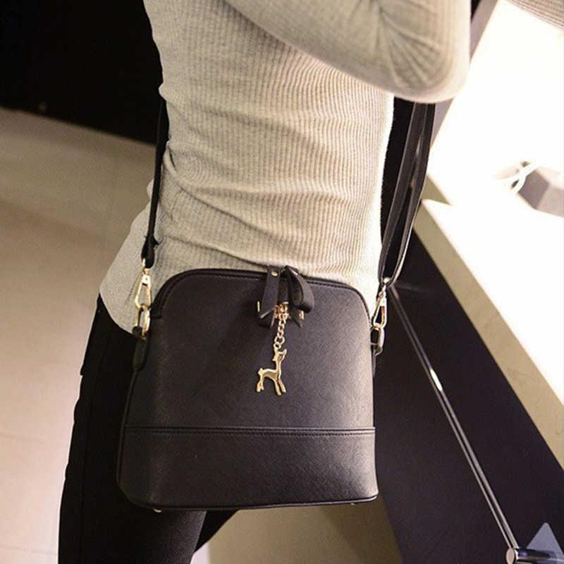 نساء حقائب كتف حقيبة ساعي جلد قذيفة صغيرة حقيبة العلامة التجارية الشهيرة حقيبة كروسبودي الغزلان تقسم لون الاصطدام