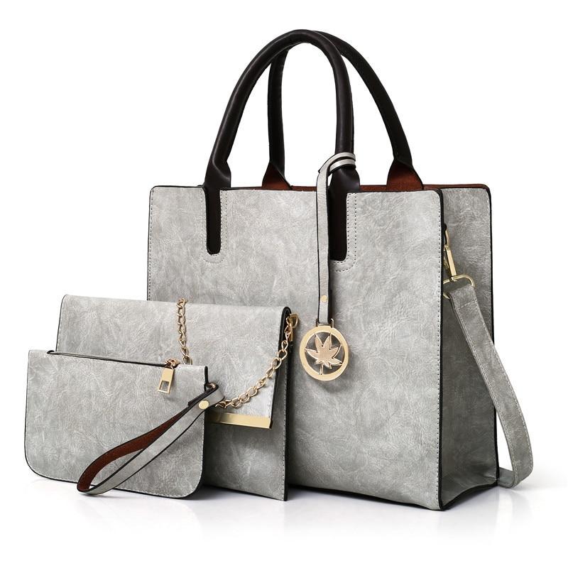 New Women Bag Set 3 Pcs Leather Handbags Large Totes Shoulder Bags for women Handbag+Messenger Bag+Purse Sac a Main bolso mujer|Shoulder Bags| - AliExpress