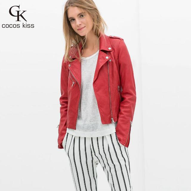 2016 new leather female jacket lapel long sleeved jacket PU slim leather female temperament locomotive Red leather women