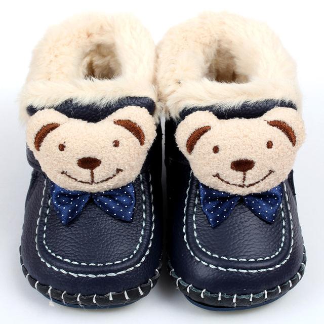 Bebé Botas de invierno Cálido Botas de Nieve de Cuero Suave de Piel de Conejo Niños Mocasines Bebé Animal Bebé Zapatos Niños Primeros Caminante