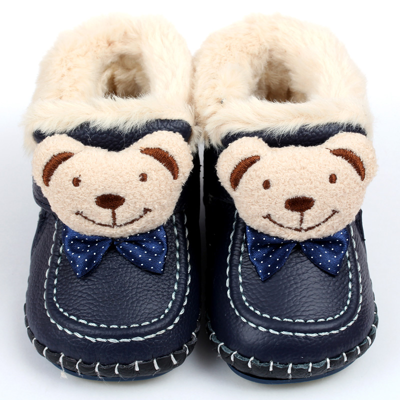 Winter Baby Boots Warm Leather Snow Boots Soft Rabbit Fur Boys Baby Moccasins Animal Infant Shoes Kids First Walkers babyfeet new winter warm boots newborn baby boys girls cute shoes infant toddler soft sole anti slip snow booties size3 5 11