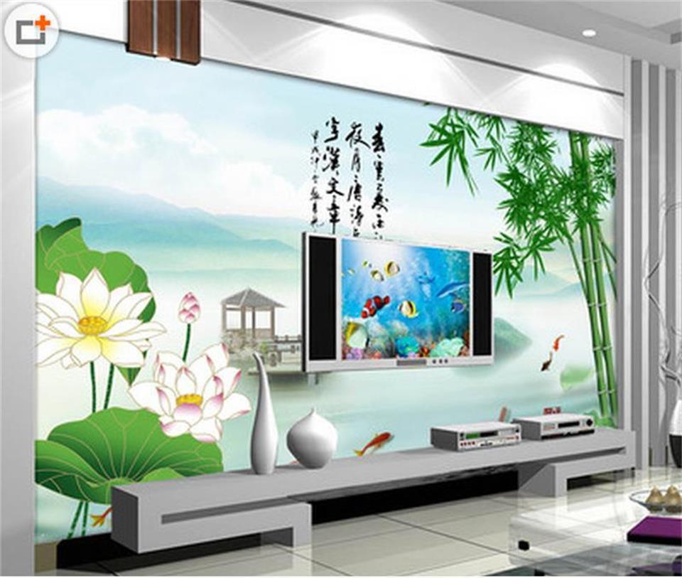 3d wallpaper custom room photo wallpaper mural livingroom green bamboo lotus flower painting TV background wallpaper for wall 3d custom large modern mural painting three dimensional relief flower 3d tv setting wall wallpaper