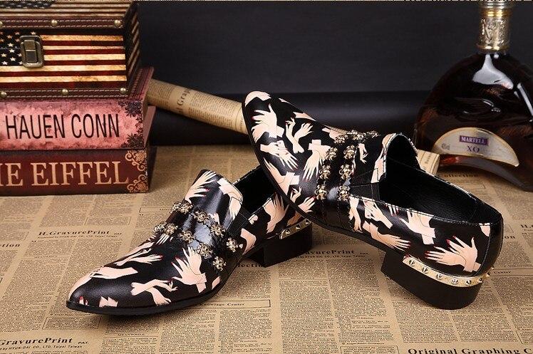 Zapatos Slip Mocasines Hombres Hombre Sapato Negocios Planos Cuero Moda De vestido Genuino 2017 Masculino Brithsh Black Los IRx44p