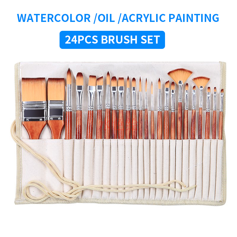 24PC/set Multifunction Paint Brush Set Imported Nylon Hair Watercolor Brushes With Pencil Bag For Acrylic/Oil Painting Drawing24PC/set Multifunction Paint Brush Set Imported Nylon Hair Watercolor Brushes With Pencil Bag For Acrylic/Oil Painting Drawing