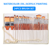 24PC/set Multifunction Paint Brush Set Imported Nylon Hair Watercolor Brushes With Pencil Bag For Acrylic/Oil Painting Drawing