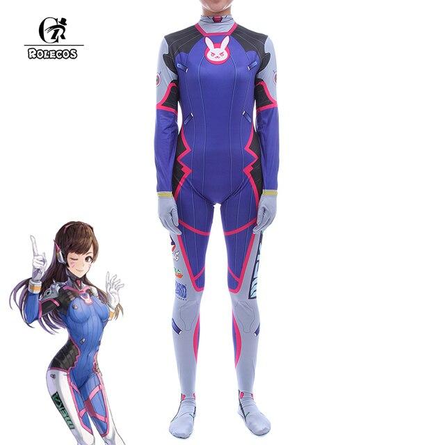 ROLECOS New Over Game Character  D.VA Cosplay Costumes Long Sleeve DVA Jumpsuits Zentai Bodysuit Women Halloween Costumes