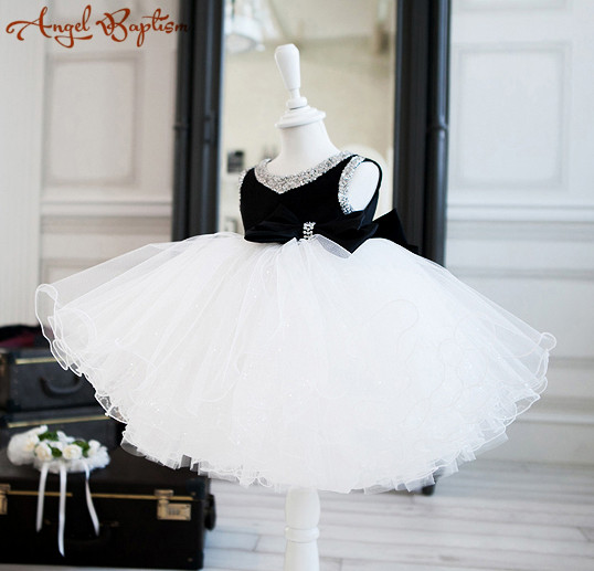 Elegant White and black ball gown tutu flower girl dress baby infant toddler party dress princess beaded bling birthday gown msk women s beaded shoulders cowl faux wrap jersey dress 12 black white