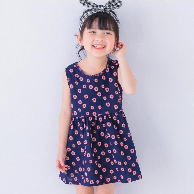 Baby Mädchen Kleid Sommer Blumendruck Vintage Kleider Sleeveless - Kinderkleidung