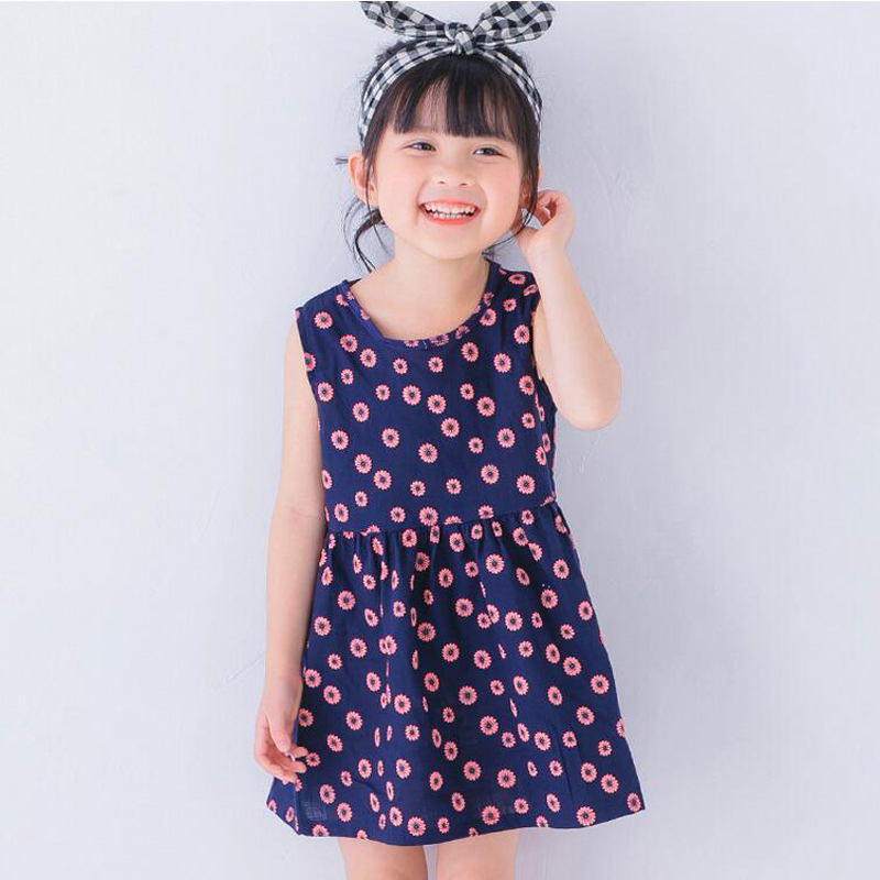 Baby Girls Dress Summer Floral Print Vintage Dresses Sleeveless Casual Cute Princess Dress Kids Clothes Tutu Vestidos Hot XL119