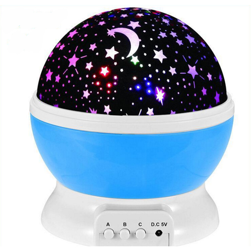 Room Novelty Night Light Lamp Rotary Flashing Starry Star Moon Sky Star Projector Kids Children Baby Abajur Infantil Gift