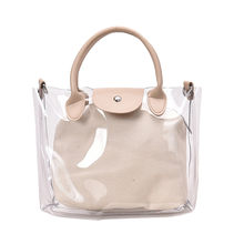 Luxury Handbags Jelly packback Handbag Women beach Bags clear Transparent Bags for Women 2019 Purse Solid high Capacity 2pc/set(China)