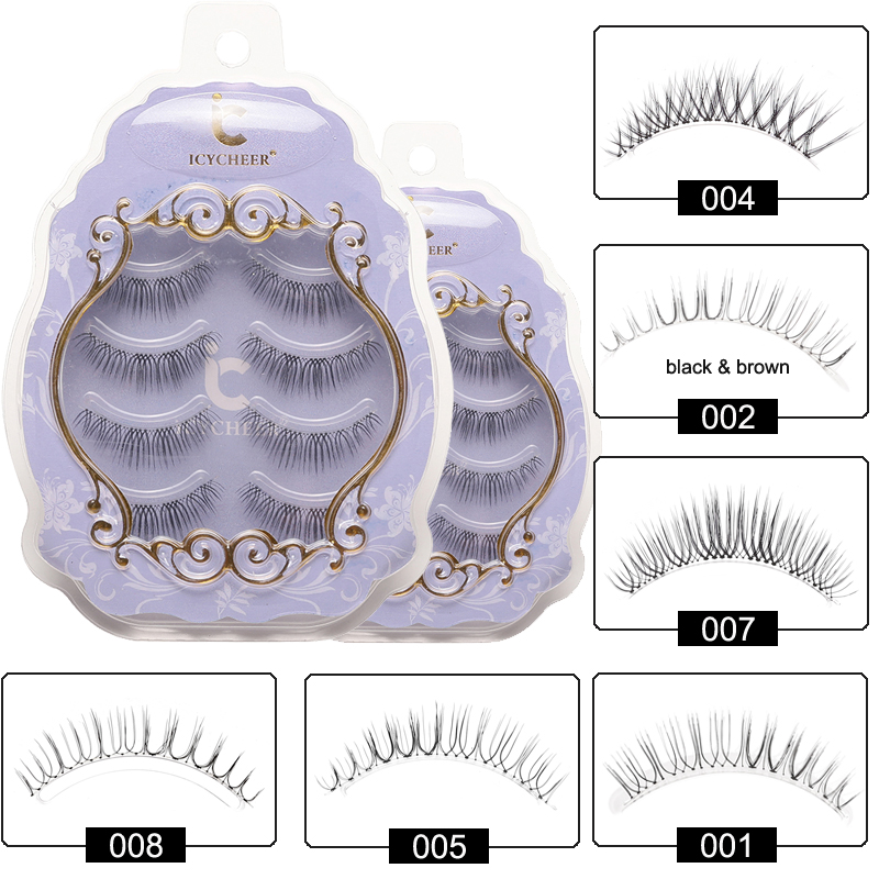 ICYCHEER Japanese Natural Style False Eyelashes Makeup Ultra Light Air Lashes Extension Handmade Soft Upper And Lower Eyelashes