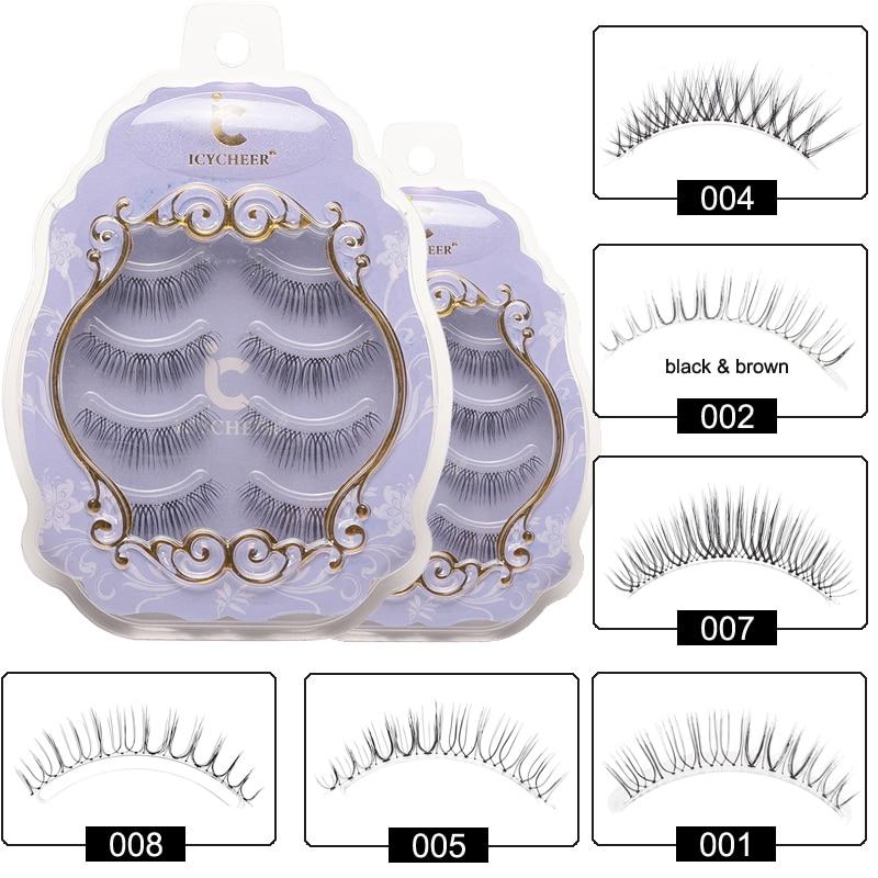 ICYCHEER Japanese Natural Style False Eyelashes Makeup Ultra Light Air Lashes Extension Handmade Soft Upper and Lower Eyelashes-in False Eyelashes from Beauty & Health