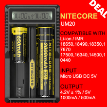 Original Nitecore UM20 USB Intellicharger Digital Lithium Battery Charger with LCD Screen for 17500 18650 16340 14500 Battery