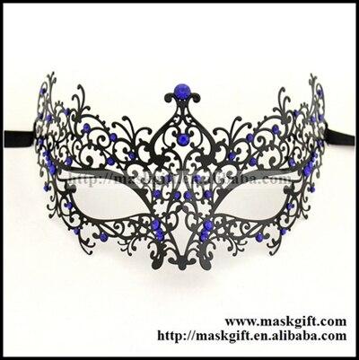 Удивительные маски венецианских маскарадов качества венецианские черные винтажные серебряные блестящие металлический лазерный разрез Вечерние Маски драгоценные камни - Цвет: BK metal blue gems