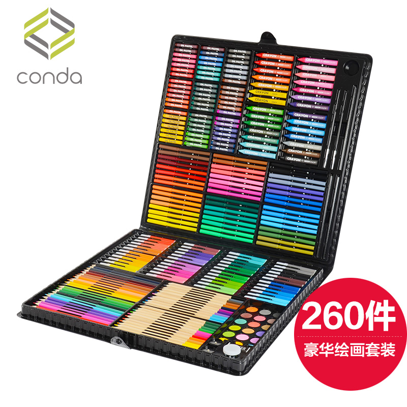 Children Crayons Safe,Non-toxic Baby Coloured Crayons Watercolor pencil 260 pieces Stationary set Coloured Oil Rods Washable. coloured maxlife
