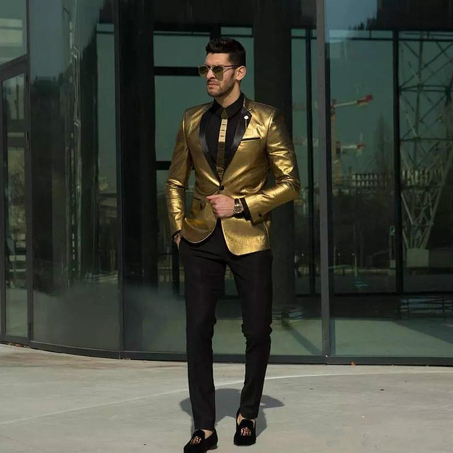 Custom Made Gold Wedding Suits Fashion Two Pieces Groomsmen Tuxedos Slim Fit Cheap Prom Party Suits Men Suit (Jacket+Pant)