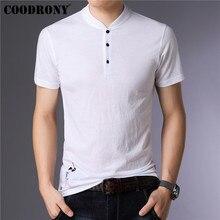 COODRONY Brand Summer Short Sleeve T Shirt Men Casual Mandarin Collar Tshirt Cotton and linen T-Shirt Men Tee Shirt Homme S95146 casual drawstring mandarin collar t shirt