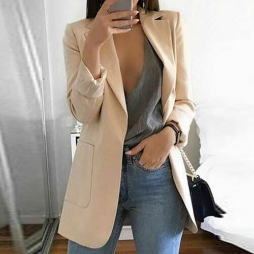 New Fashion Women Casual Long Sleeve Coat Suit Office Ladies Slim Cardigan Tops Blazer Jacket Outwear Spring Autumn
