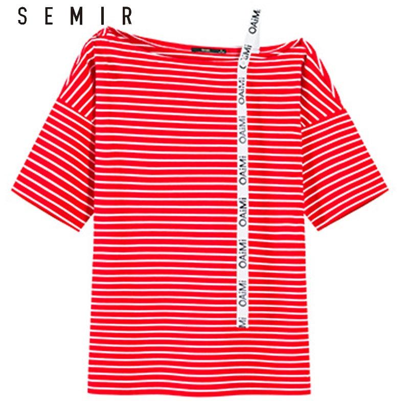 SEMIR Frauen T shirt Weg Von Der Schulter Tops für Frauen Baumwolle T Shirt Femme Camisetas Mujer Harajuku Streifen T shirts sommer